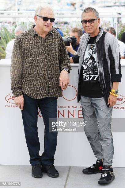 Takashi Miike and Jeremy Thomas attend the 'Blade Of The Immortal ' photocall during the 70th annual Cannes Film Festival at Palais des Festivals on...