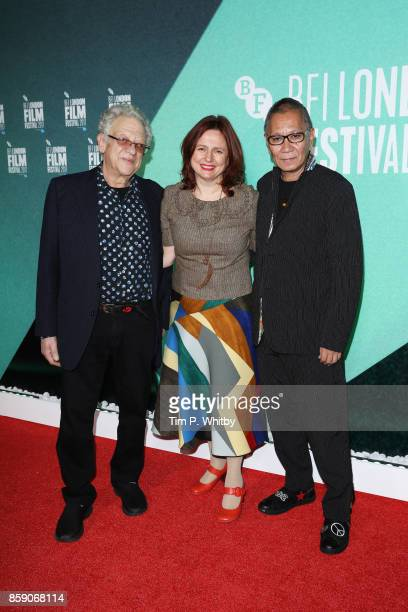 Takashi Miike Clare Stewart and Jeremy Thomas attend the Thrill Gala UK Premiere of Blade Of The Immortal during the 61st BFI London Film Festival on...