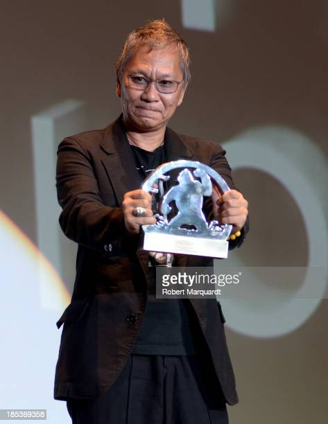 Takashi Miike receives an Honorary Award for his work in cinema at the 46th Sitges Film Festival on October 19 2013 in Sitges Spain