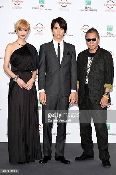 Takashi Miike Sota Fukushi and Hirona Yamazaki attend the 'As the Gods Will' Photocall during the 9th Rome Film Festival on October 18 2014 in Rome...