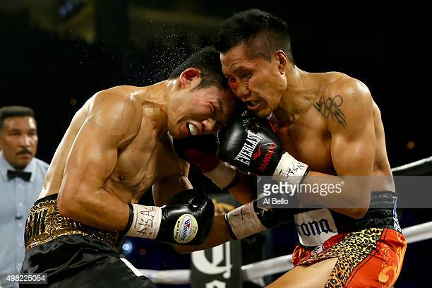 Takashi Miura and Francisco Vargas exchange blows during their WBC super featherweight title fight at the Mandalay Bay Events Center on November 21...