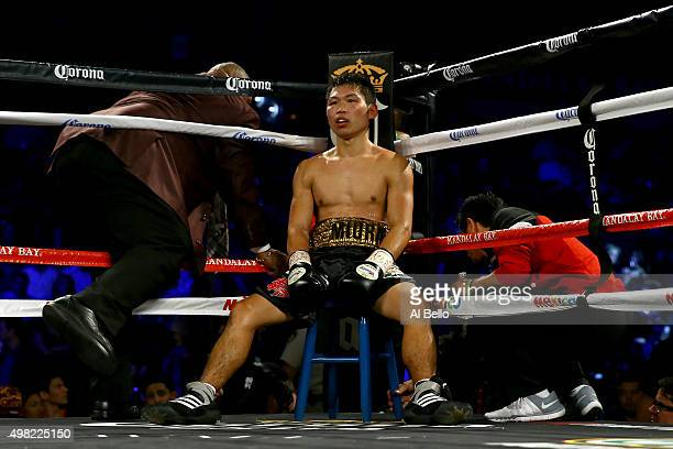 Takashi Miura in his corner between rounds against Francisco Vargas during their WBC super featherweight title fight at the Mandalay Bay Events...