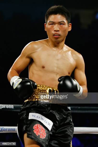 Takashi Miura in the ring before taking on Francisco Vargas during their WBC super featherweight title fight at the Mandalay Bay Events Center on...