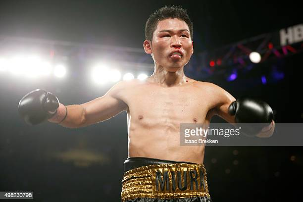 Takashi Miura reacts while taking on Francisco Vargas during their WBC super featherweight title fight at the Mandalay Bay Events Center on November...