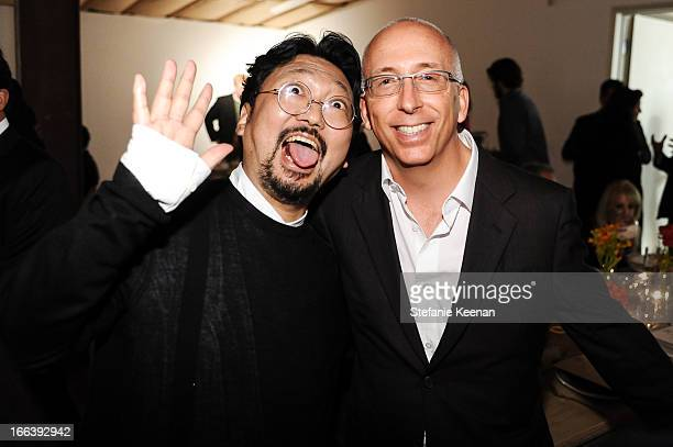 Takashi Murakami and Bill Bell attend Takashi Murakami Private Preview And Dinner At Blum Poe on April 11 2013 in Los Angeles California