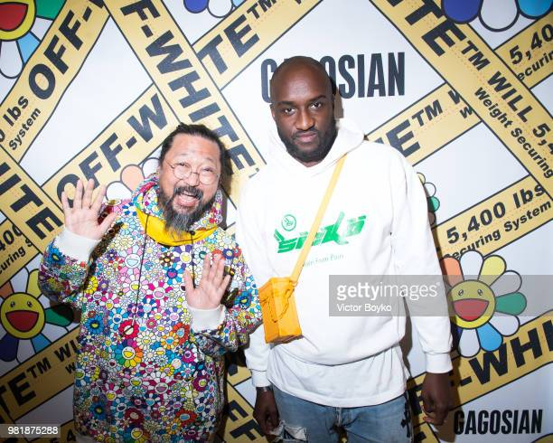 Takashi Murakami and Virgil Abloh attend the 'Murakami x Abloh Technocolo 2' Press Preview as part of Paris Fashion Week on June 22 2018 in Paris...