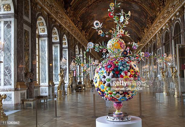 Takashi Murakami exhibits at the Chateau de Versailles in Versailles France on September 05th 2010 In the hall of mirrors a work of 2001/2006 named...