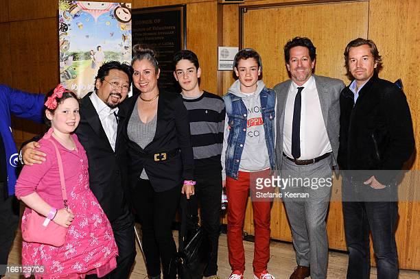 Takashi Murakami Friedrich Kunath and Blum Family attend Takashi Murakami's international film premiere of Jellyfish Eyes at LACMA on April 8 2013 in...