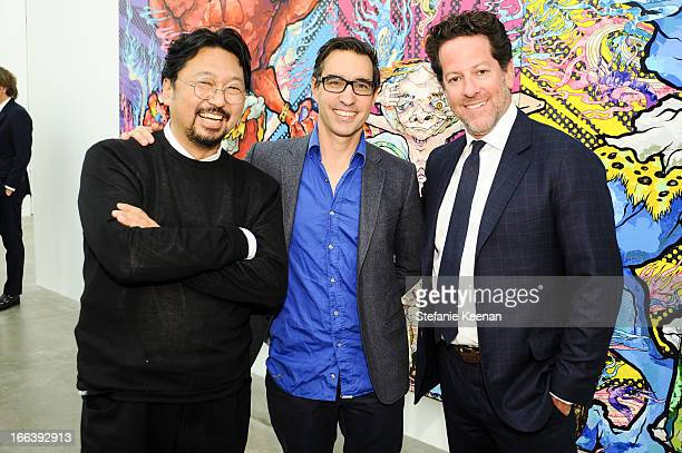 Takashi Murakami Matthew Monohan and Tim Blum attend Takashi Murakami Private Preview And Dinner At Blum Poe on April 11 2013 in Los Angeles...