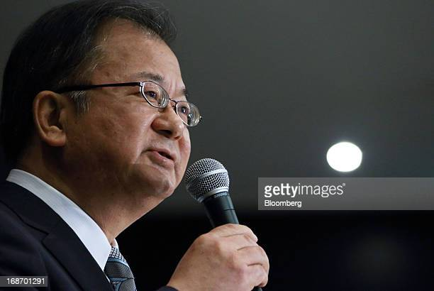 Takashi Okuda incoming chairman of Sharp Corp speaks during a news conference in Tokyo Japan on Tuesday May 14 2013 Sharp Corp forecast its first...