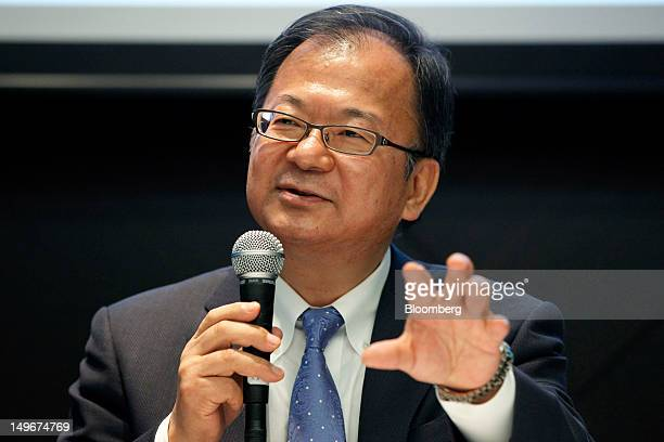 Takashi Okuda president of Sharp Corp gestures as he speaks during a news conference in Tokyo Japan on Thursday Aug 2 2012 Sharp Corp maker of Aquos...