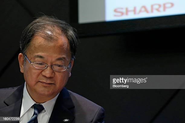 Takashi Okuda president of Sharp Corp pauses during a news conference in Tokyo Japan on Friday Feb 1 2013 Sharp Corp the Japanese TVmaker that has...