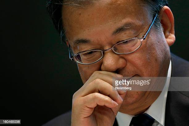 Takashi Okuda president of Sharp Corp reacts during a news conference in Tokyo Japan on Friday Feb 1 2013 Sharp Corp the Japanese TVmaker that has...