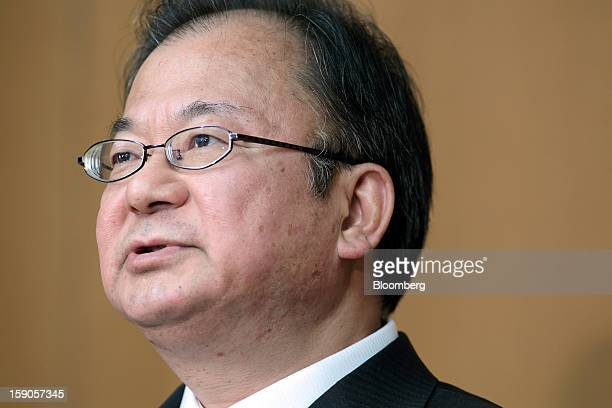 Takashi Okuda president of Sharp Corp speaks during a group interview at the company's headquarters in Osaka Japan on Monday Jan 7 2013 Sharp Corp...