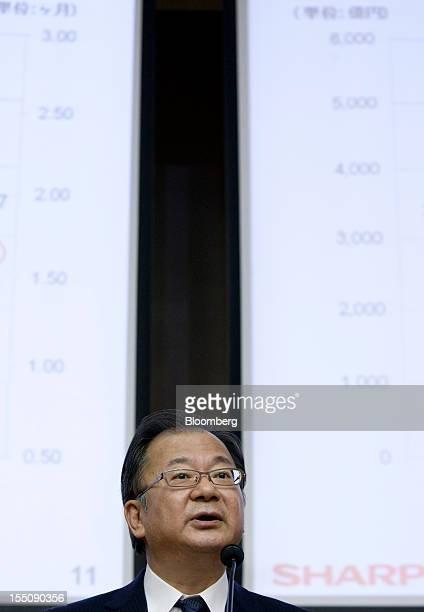 Takashi Okuda president of Sharp Corp speaks during a news conference in Tokyo Japan on Thursday Nov 1 2012 Sharp the Japanese TV maker that...
