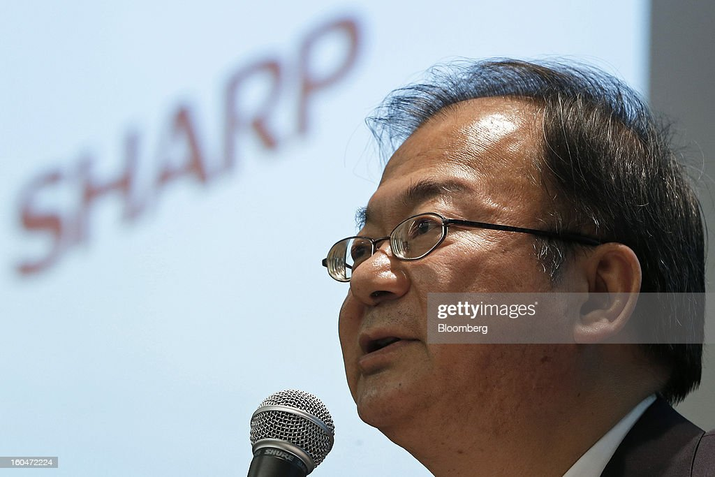 Takashi Okuda, president of Sharp Corp., speaks during a news conference in Tokyo, Japan, on Friday, Feb. 1, 2013. Sharp Corp., the Japanese TV-maker that has warned about its ability to survive, posted a narrower loss helped by job cuts asset sales and a weaker yen. Photographer: Kiyoshi Ota/Bloomberg via Getty Images