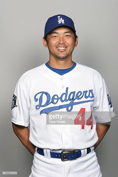 Takashi Saito of the Los Angeles Dodgers poses for a portrait during photo day at Holman Stadium on February 24, 2008 in Vero Beach, Florida.