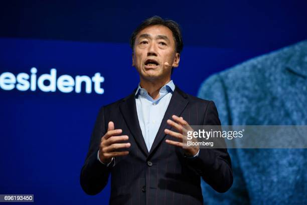 Takashi Sawada president of FamilyMart Co speaks during Line Corp's annual strategy briefing in Tokyo Japan Thursday June 15 2017 Line wants to...