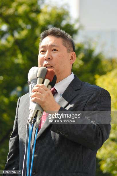 Takashi Tachibana party leader of the NHK Kara Kokumin wo Mamoru To makes a street speech as the Upper House byelection campaign continues on October...