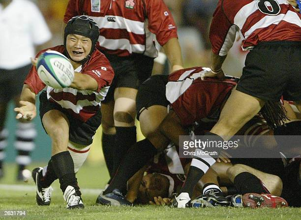 Takashi Tsuji of Japan of loads during the Rugby World Cup Pool B match between Fiji and Japan at Dairy Farmers Stadium October 23 2003 in Townsville...