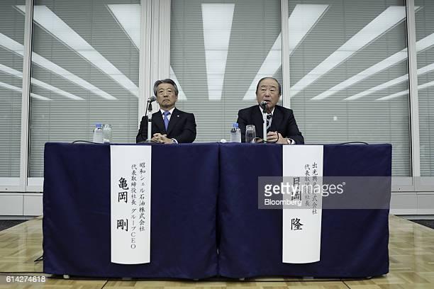 Takashi Tsukioka president of Idemitsu Kosan Co right speaks as Tsuyoshi Kameoka chief executive officer of Showa Shell Sekiyu KK looks on during a...