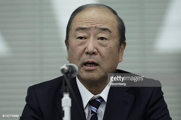 Takashi Tsukioka president of Idemitsu Kosan Co speaks during a news conference in Tokyo Japan on Thursday Oct 13 2016 Japanese refiners Showa Shell...