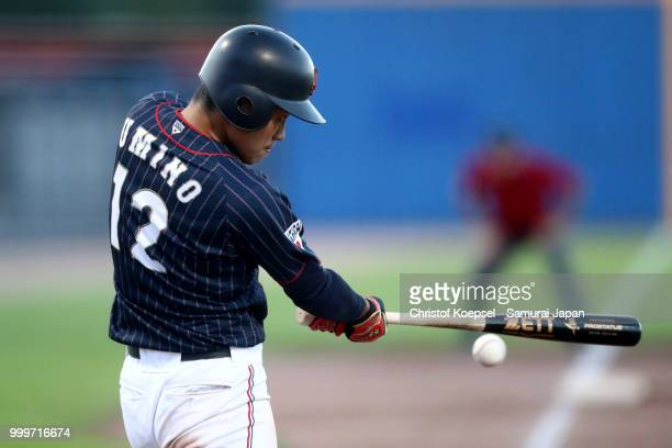 Takashi Umino of Japan hits the ball in the sixth inning during the Haarlem Baseball Week game between Cuba and Japan at Pim Mulier Stadion on July...