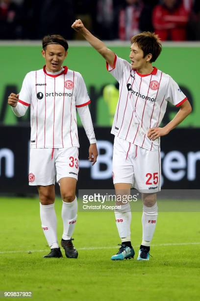 Takashi Usami and Genki Haraguchi of Duesseldorf celebrate after the Second Bundesliga match between Fortuna Duesseldorf and FC Erzgebirge Aue at...