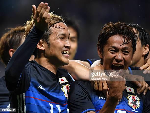 Takashi Usami and Hiroshi Kiyotake of Japan celebrate the first goal during the international friendly match between Japan and Bosnia And Herzegovina...