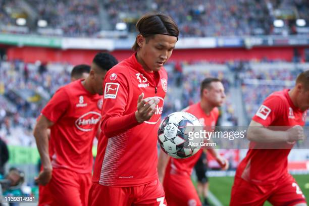 Takashi Usami dd warms up for the Bundesliga match between Fortuna Duesseldorf and Borussia Moenchengladbach at EspritArena on March 30 2019 in...