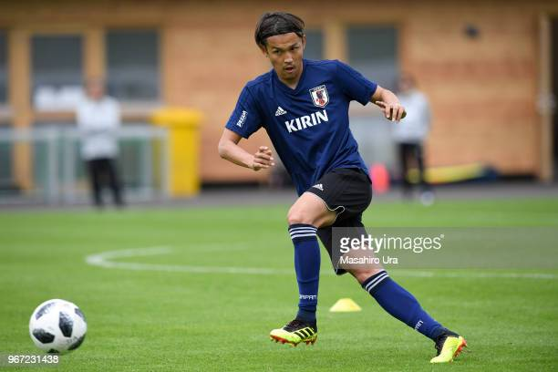 Takashi Usami in action during a training session on June 4 2018 in Seefeld Austria