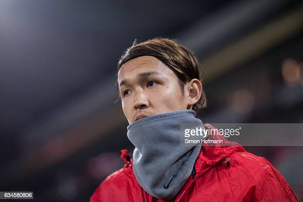 Takashi Usami of Augsburg looks on prior to the Bundesliga match between 1 FSV Mainz 05 and FC Augsburg at Opel Arena on February 10 2017 in Mainz...