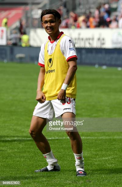 Takashi Usami of Duesseldorf celebrates after winning 30 the Second Bundesliga match between Fortuna Duesseldorf and FC Ingolstadt 04 at EspritArena...