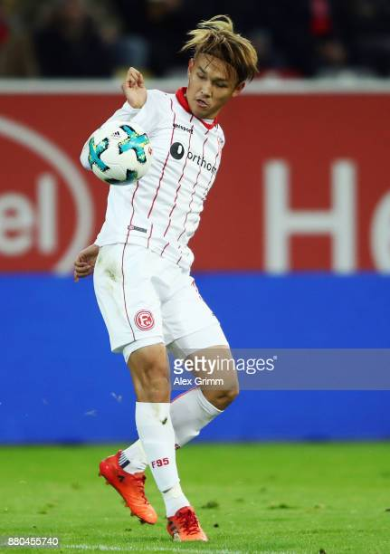 Takashi Usami of Duesseldorf controls the ball during the Second Bundesliga match between Fortuna Duesseldorf and SG Dynamo Dresden at EspritArena on...