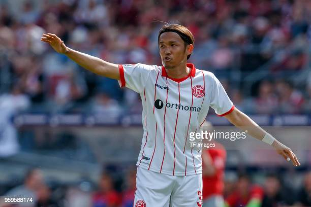 Takashi Usami of Duesseldorf gestures during the Second Bundesliga match between 1 FC Nuernberg and Fortuna Duesseldorf at MaxMorlockStadion on May...