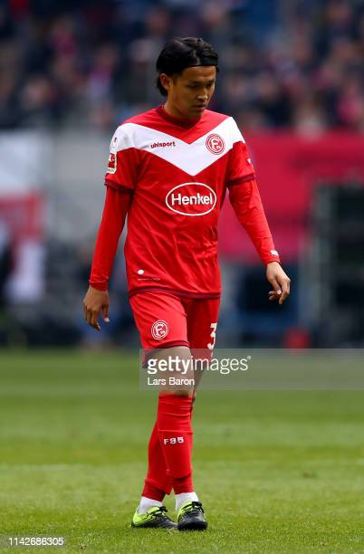 Takashi Usami of Duesseldorf is seen during the Bundesliga match between Fortuna Duesseldorf and FC Bayern Muenchen at Esprit-Arena on April 14, 2019...