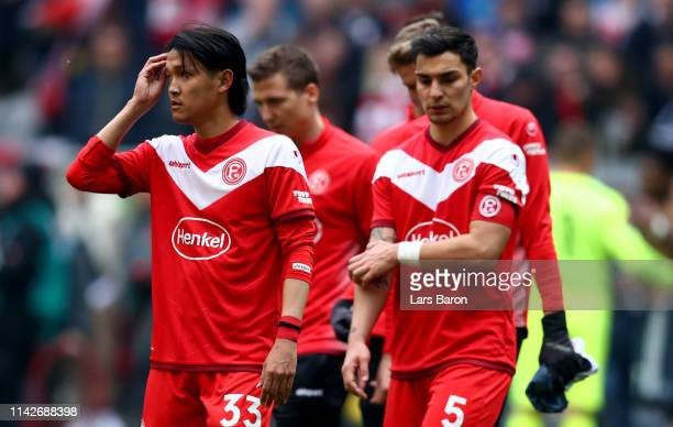 Takashi Usami of Duesseldorf is seen during the Bundesliga match between Fortuna Duesseldorf and FC Bayern Muenchen at EspritArena on April 14 2019...