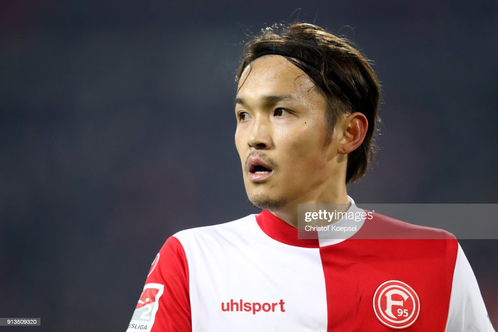 Takashi Usami of Duesseldorf is seen during the Second Bundesliga match between Fortuna Duesseldorf and SV Sandhausen at Esprit-Arena on February 2, 2018 in Duesseldorf, Germany. The match between Duesseldorf and Sandhausen ended 1-0.