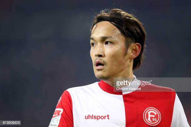 Takashi Usami of Duesseldorf is seen during the Second Bundesliga match between Fortuna Duesseldorf and SV Sandhausen at EspritArena on February 2...