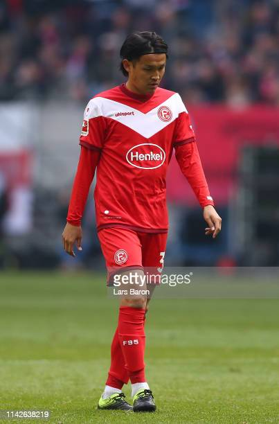 Takashi Usami of Duesseldorf looks dejected during the Bundesliga match between Fortuna Duesseldorf and FC Bayern Muenchen at EspritArena on April 14...