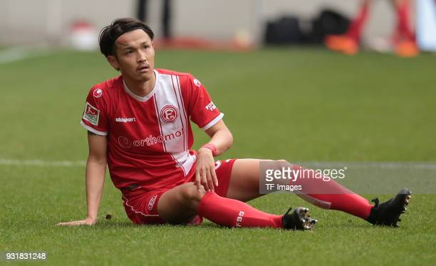 Takashi Usami of Duesseldorf on the ground during the Second Bundesliga match between MSV Duisburg and Fortuna Duesseldorf at SchauinslandReisenArena...