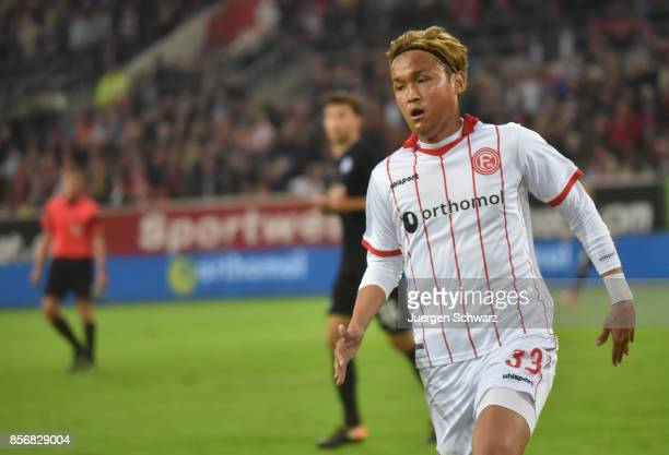 Takashi Usami of Duesseldorf runs across the pitch during the Second Bundesliga match between Fortuna Duesseldorf and MSV Duisburg at EspritArena on...