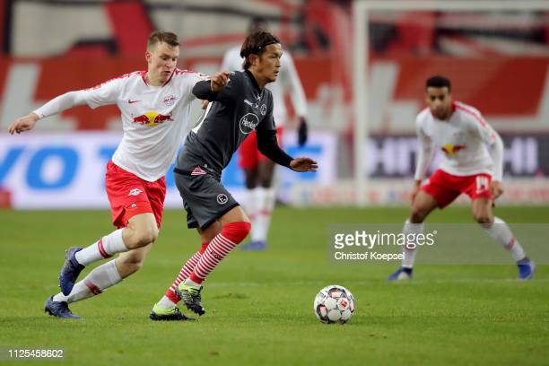 Takashi Usami of Duesseldorf runs with the ball during the Bundesliga match between Fortuna Duesseldorf and RB Leipzig at EspritArena on January 27...
