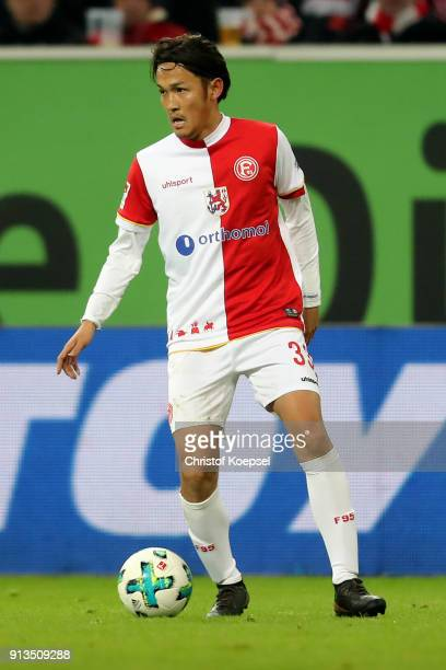 Takashi Usami of Duesseldorf runs with the ball during the Second Bundesliga match between Fortuna Duesseldorf and SV Sandhausen at EspritArena on...