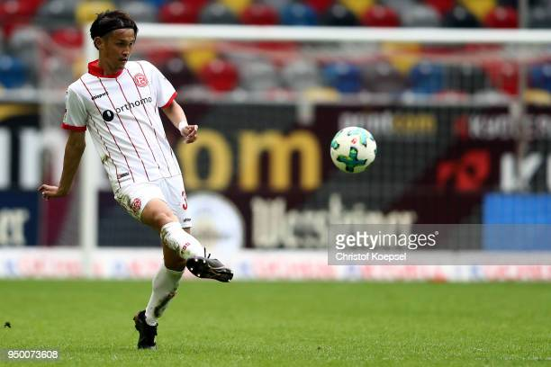 Takashi Usami of Duesseldorf runs with the ball during the Second Bundesliga match between Fortuna Duesseldorf and FC Ingolstadt 04 at EspritArena on...