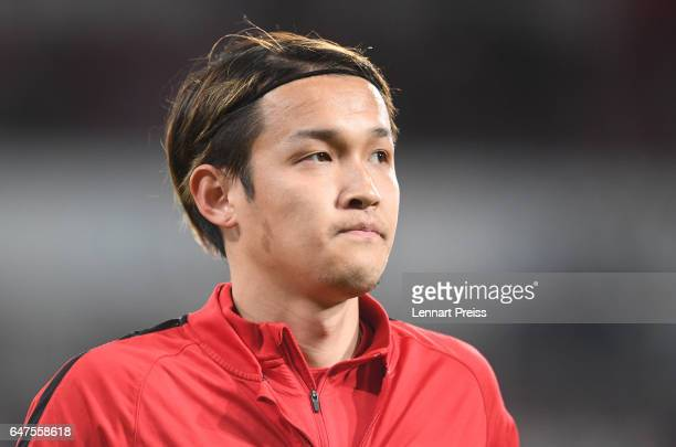 Takashi Usami of FC Augsburg warms up prior to the Bundesliga match between FC Augsburg and RB Leipzig at WWK Arena on March 3 2017 in Augsburg...