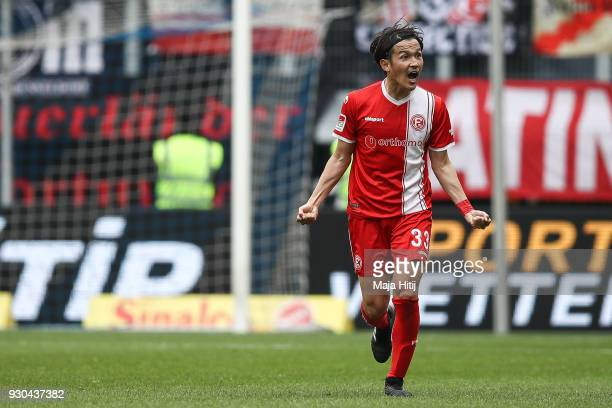 Takashi Usami of Fortuna Duesseldorf celebrates with after scoring his teams second goal to make it 02 during the Second Bundesliga match between MSV...