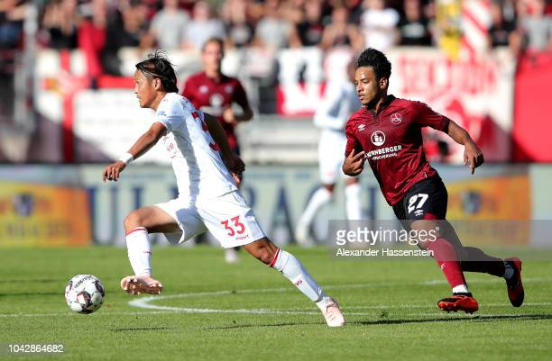 Takashi Usami of Fortuna Duesseldorf in action during the Bundesliga match between 1 FC Nuernberg and Fortuna Duesseldorf at MaxMorlockStadion on...