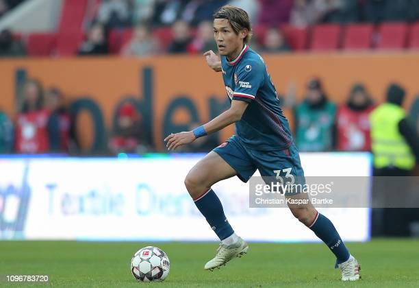 Takashi Usami of Fortuna Duesseldorf in action during the Bundesliga match between FC Augsburg and Fortuna Duesseldorf at WWKArena on January 19 2019...