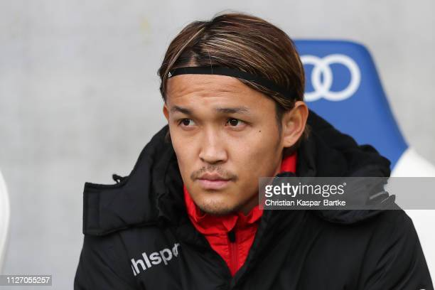 Takashi Usami of Fortuna Duesseldorf is seen on the substitutes bench prior to the Bundesliga match between TSG 1899 Hoffenheim and Fortuna...